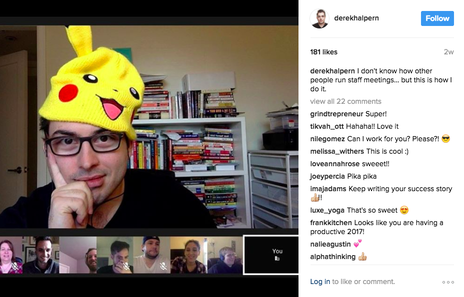 "Instagram marketing works for ""boring"" industries, too. Take Derek Halpern."