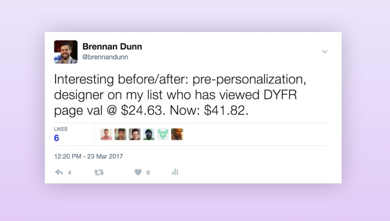 Tweet, customers are worth $41.82 after personalization.