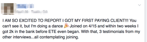 One of my students got her first ever paying client — for $2K — from the fast-action bonus alone